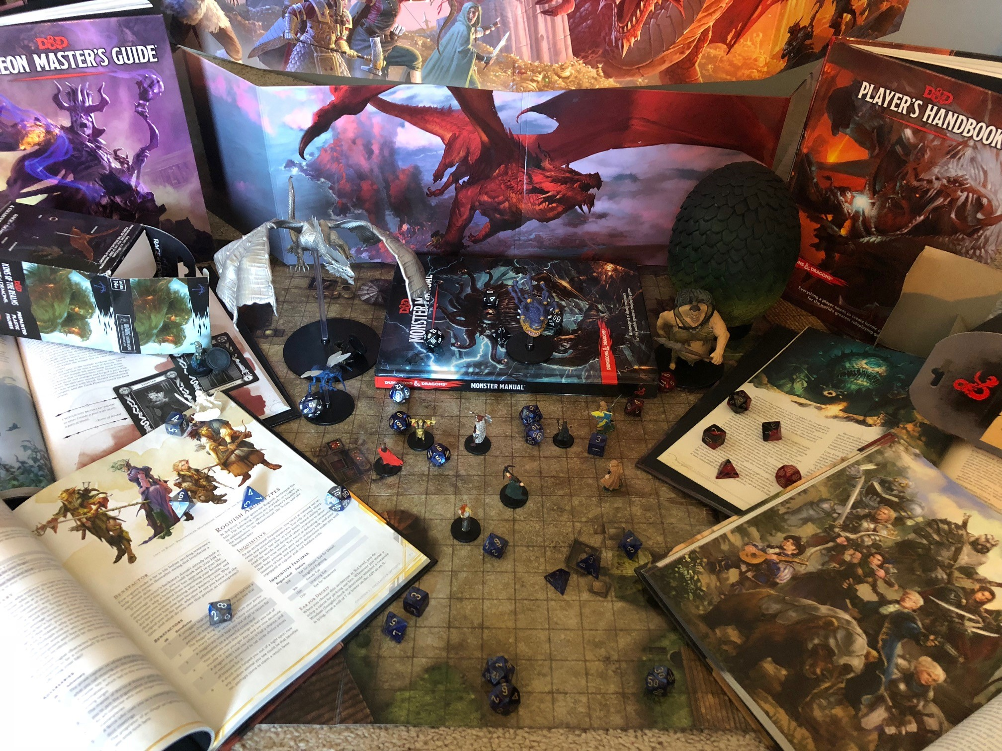 Display of game materials, handbooks, and figures