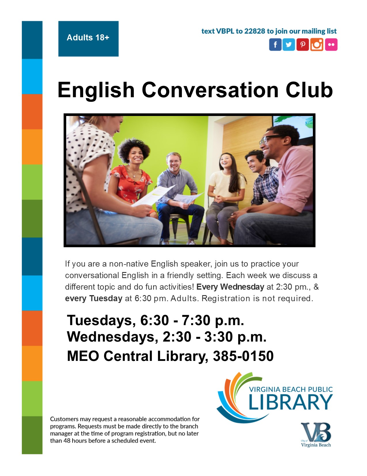 English Conversation Club flyer.