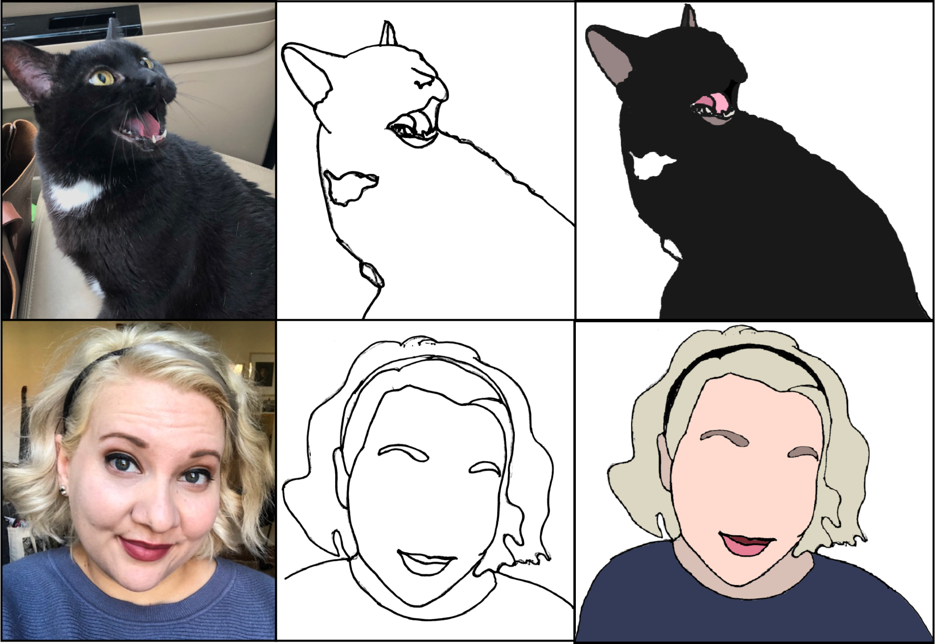 An image comprised of two rows and three columns. The first column contains a photograph of a cat and a blonde woman. The  middle column has a black outline of the same cat and woman. The final column shows the cat and woman as a color block illustration.