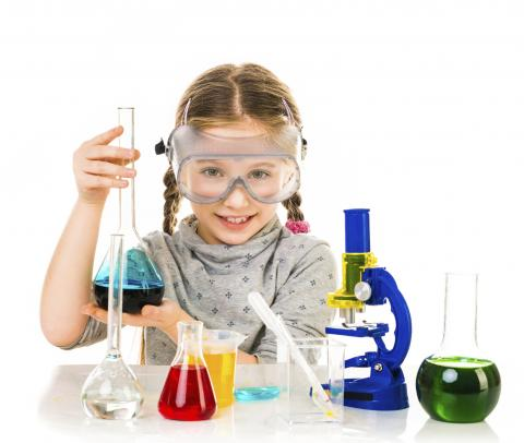 girl with science equipment