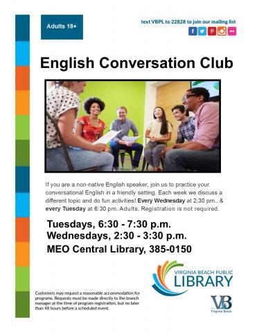 English Conversation Club flyer