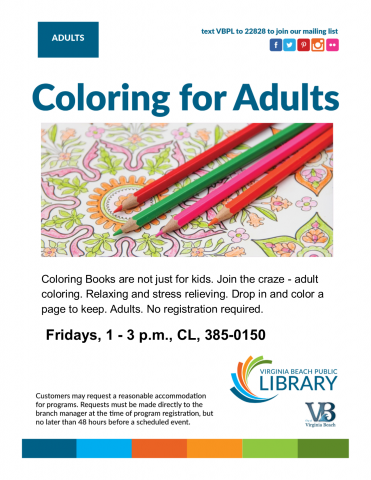 Coloring for Adults flyer.