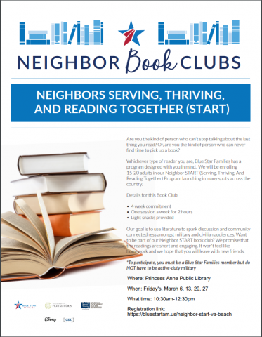 Flyer for Blue Star Family Neighbor Book Club