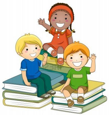 3 cartoon children sitting on books